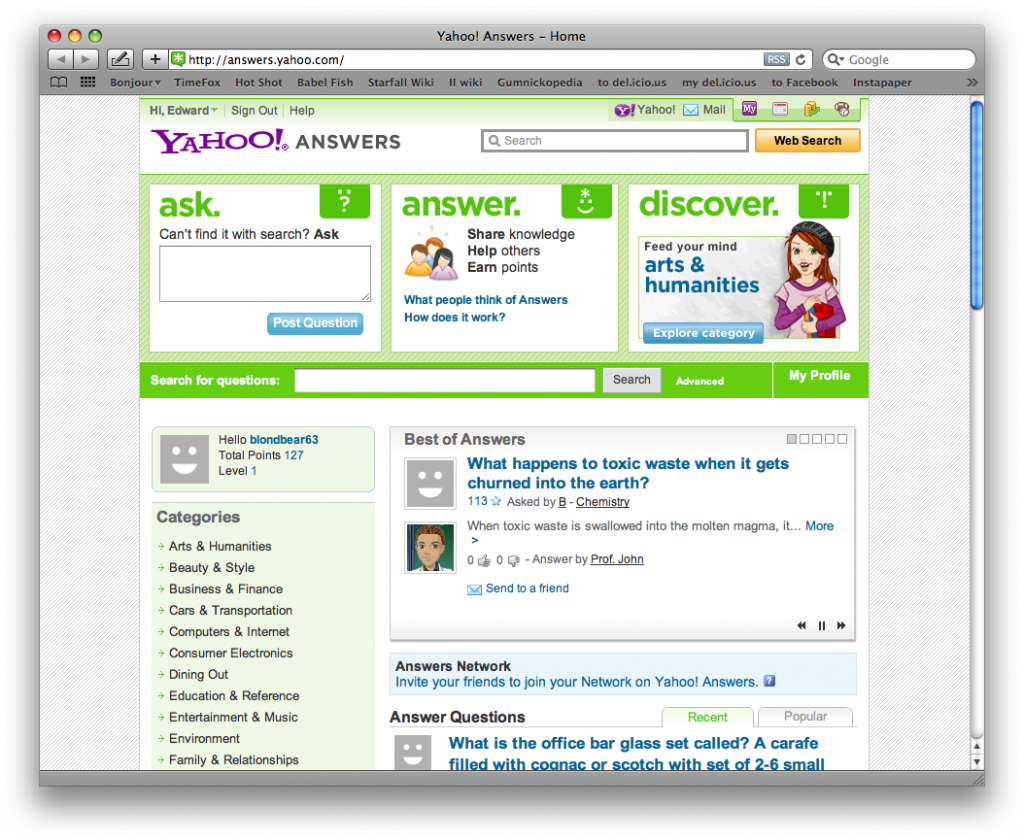knowledge networks yahoo answers