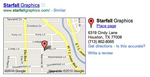 Starfall Graphics' local-search listing